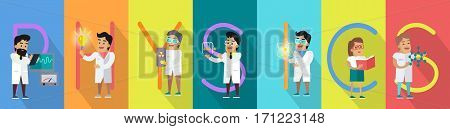 Physics banner. Science alphabet. ABC vector with scientists at work. Simple colored letters and scientist character. Scientific research, science lab, science test, technology illustration in flat