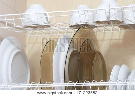 dishware on a special shelf