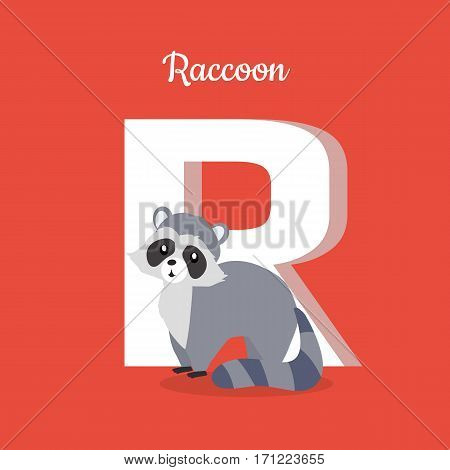 Raccoon with letter R isolated on red. Racoon, North American raccoon, northern raccoon and colloquially coon, medium-sized mammal. Part of alphabetic series with animals. ABC, alphabet. Vector