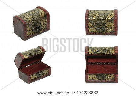 Collection Set Of Treasure Box, Vintage Old Storage Box Isolated On White Background