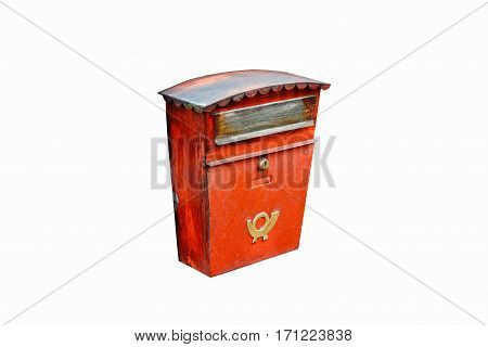 Old red mailbox on a white background. Austria.