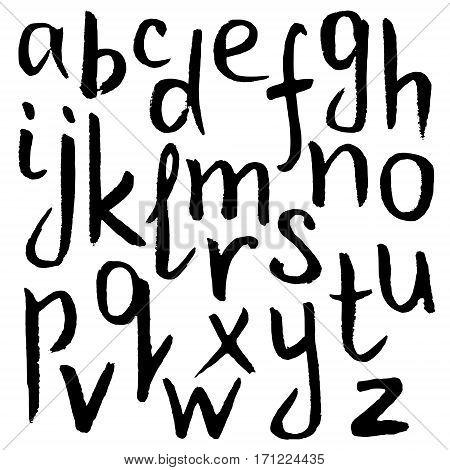Hand drawn black grunge lowercase letter Alphabet
