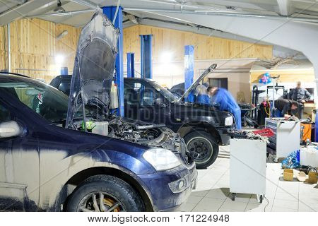 Cars in car repair station