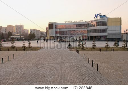 Tyumen, Russia - April 22, 2010: Twilight view onto Art Palace. Because of mistakes in design the bases hasn't been open, and now it is demolished