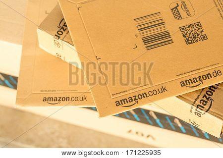 Paris, France - February 08, 2017: Amazon Prime Parcel Packages Closeup. Amazon, Is An American Elec