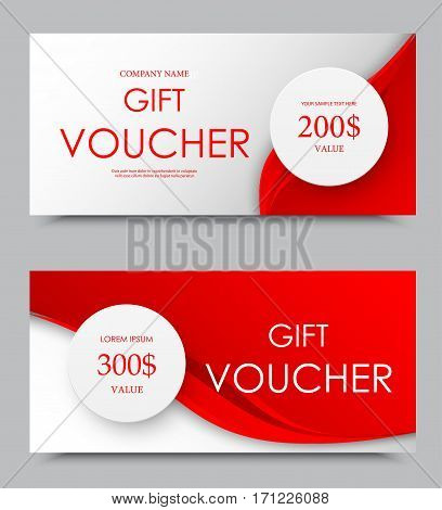 Gift company voucher template on two and three hundred dollars with gray circles and dynamic red wavy elegant lines pattern. Vector illustration