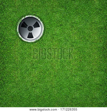 Abstract sport background of golf hole on green grass texture background.