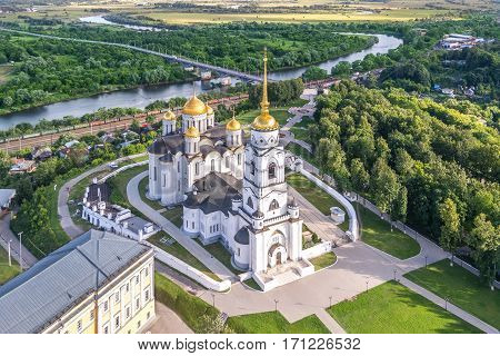 Assumption cathedral in Vladimir, Russia in aerial view summer