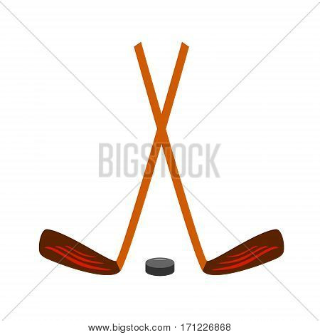 Hockey set icon on white. Vector illustration