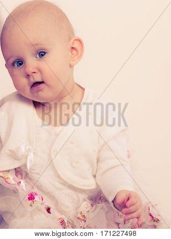 Lovely little child girl in princess fairy dress. Portrait of cute beauty sweet baby ballerina.