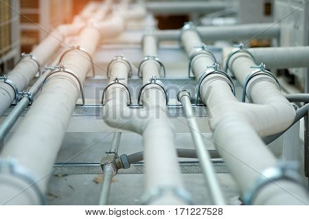 Pipe cooling or Air conditioning pipes system outside the building.