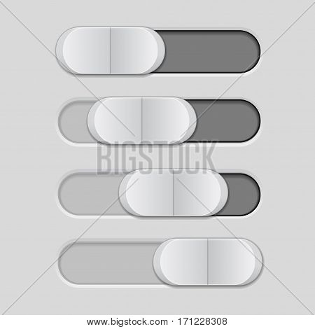 Slider with plastic button. Gray bar. Vector illustration
