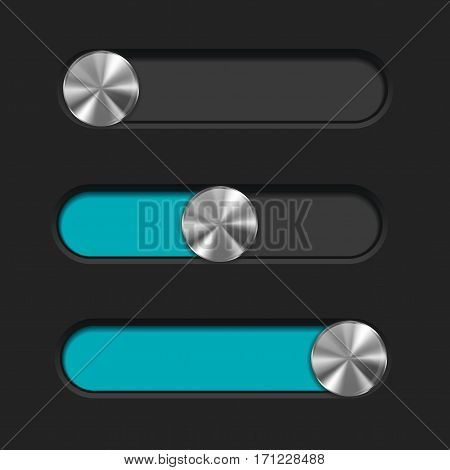 Slider with metal button. Blue bar on dark background. Vector illustration