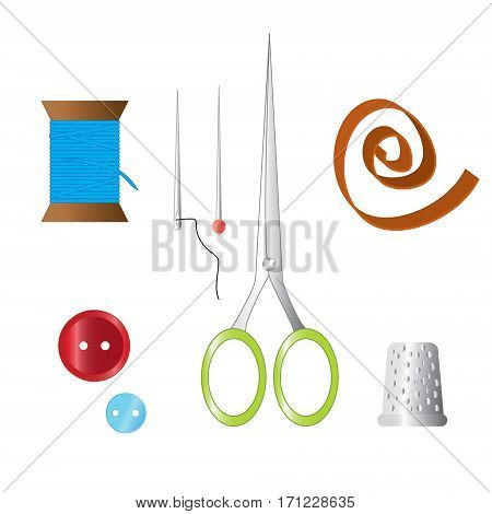 Color set of objects for sewing handicraft. Sewing tools and sewing kitsewing equipment needle sewing pin scissors thimble buttons thread tape.