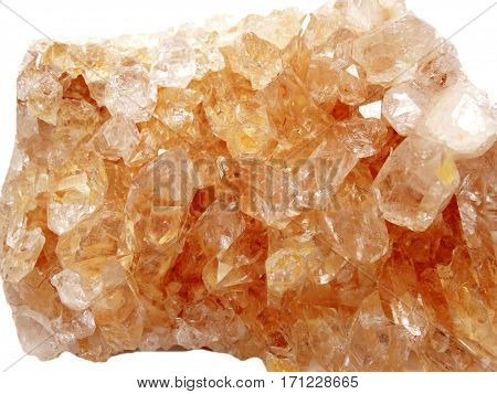 citrine semigem geode crystals geological mineral isolated