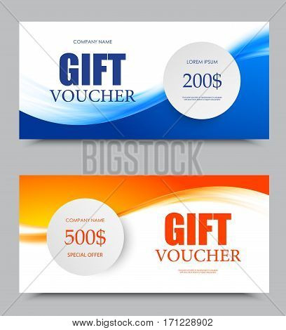 Gift company voucher template on two and five hundred dollars with blue and orange light wavy soft patterns. Vector illustration