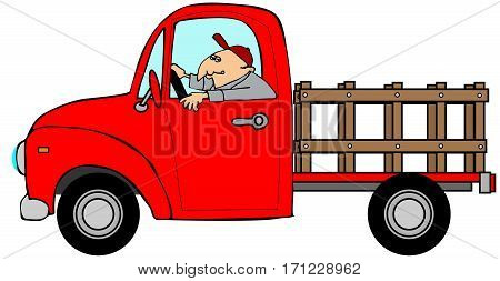 Illustration of a man driving an empty stake-side truck.