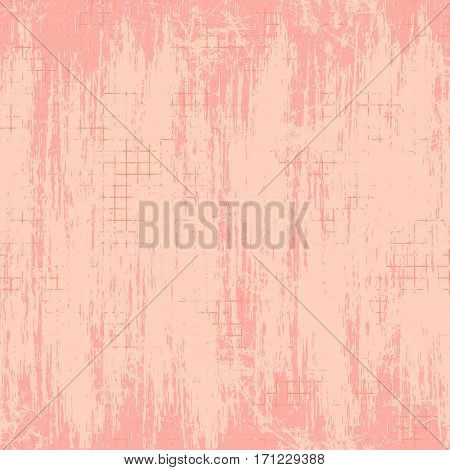Vector background. Template, old style vintage design. Graphic illustration. Grungy pink textured background with attrition, cracks and ambrosia.