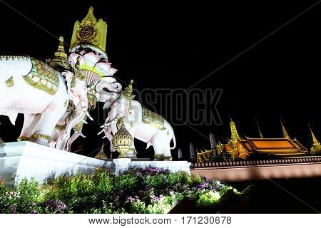 Three Erawan Statues And Symbols King, In Front Of Grand Palace, Emerald Buddha Temple, Wat Phra Kae