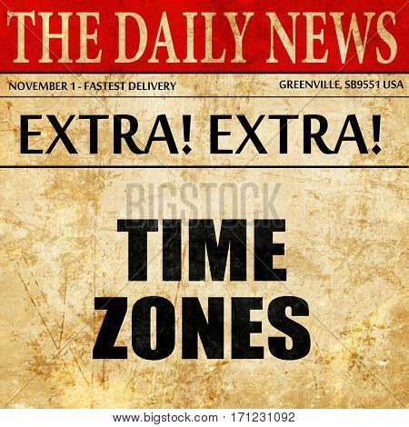 time zones, article text in newspaper
