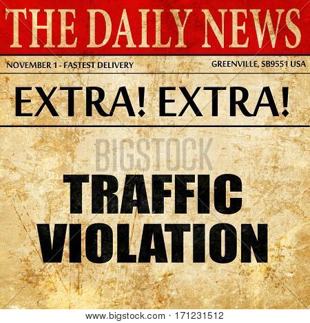 traffic violation, article text in newspaper