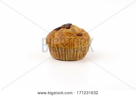 Home-made Blueberry Muffins, Muffin Cup Cake Closeup Isolated On White Background.
