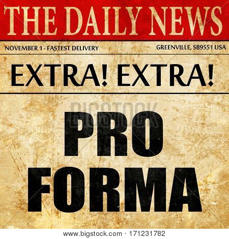 Pro forma, article text in newspaper