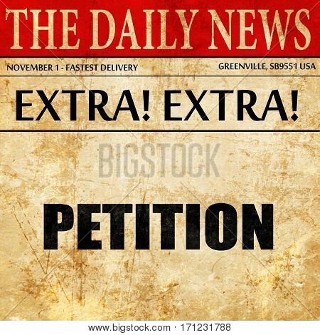 petition, article text in newspaper