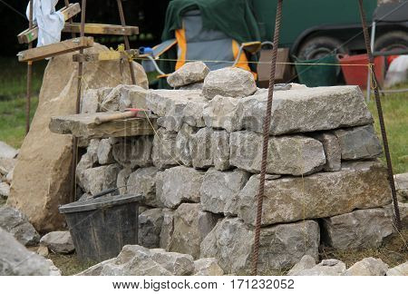 A Demonstration Building of a Traditional Dry Stone Wall.