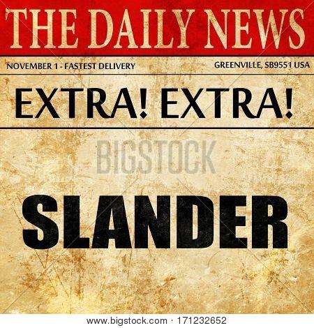 slander, article text in newspaper