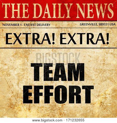 team effort, article text in newspaper