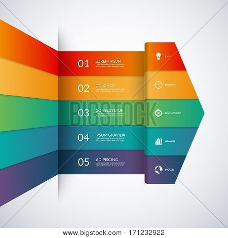 Infographic template in the form of a big colored paper arrow. 5 -option minimalistic vector banner. Can be used for graph, diagram, chart, workflow layout, number and step options, web design