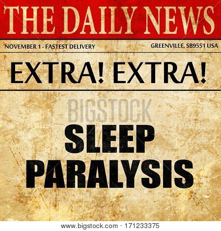 sleep paralysis, article text in newspaper