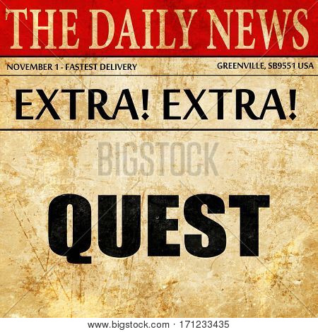 quest, article text in newspaper