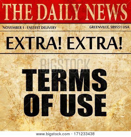 terms of use, article text in newspaper