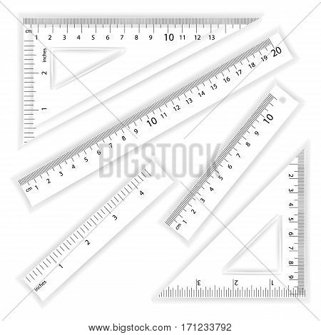 Ruler And Triangles Vector. Centimeter And Inch. Simple School Measurement Tool Equipment Illustration Isolated On White Background. Several Instruments Variants