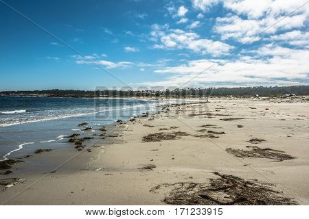 View of the sand beach at Pacific Grove, Monterey, California