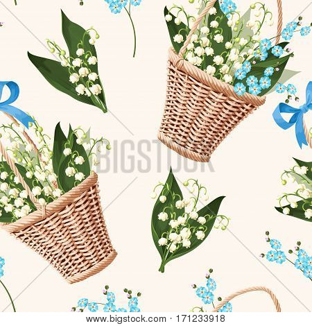 Vintage basket with spring flowers vector seamless background