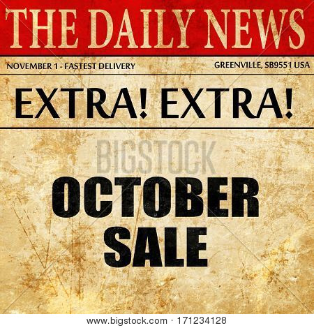 october sale, article text in newspaper