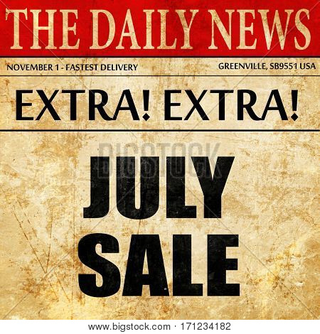 july sale, article text in newspaper
