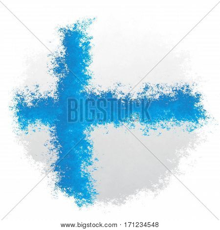 Color spray stylized flag of Finland on white background