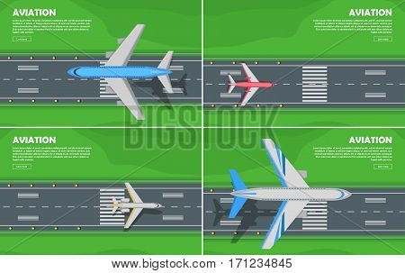 Aviation conceptual banners. Passenger aircraft landing or takes off on airport runway with green lawn on sides flat vector illustrations set. For airline, travel, transport company web page design