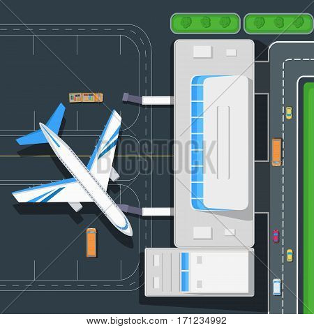 Airport top view concept. Passenger aircraft near airport terminal building, road, cars, bus, luggage carrier flat vector illustrations. Airplane flight. For airline ad, travel, transportation concept poster