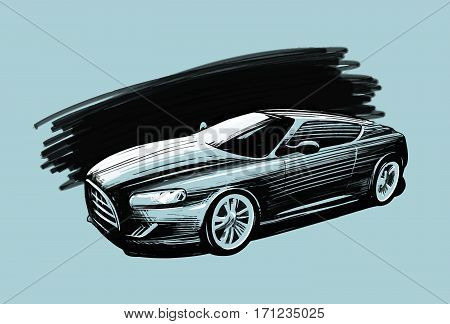 Sports car. Vehicle sketch vector illustration. Hand-drawn vehicle