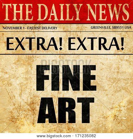 fine art, article text in newspaper