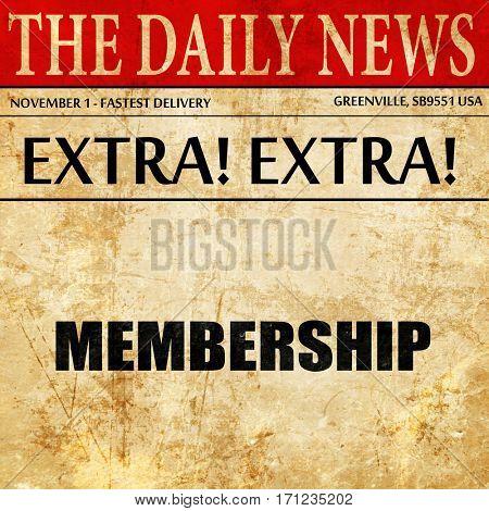 membership, article text in newspaper
