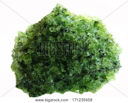 chrysolite semigem geode crystals geological mineral isolated