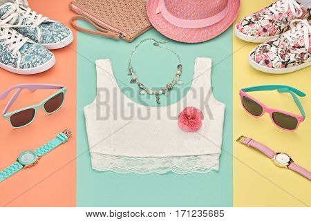 Summer Hipster style.Design Spring Fashion girl Clothes set, Accessories.Outfit.Trendy sunglasses, floral Gumshoes.Summer hipster top, fashion watch hat, spring flower.Summer Urban woman Look.Perspective