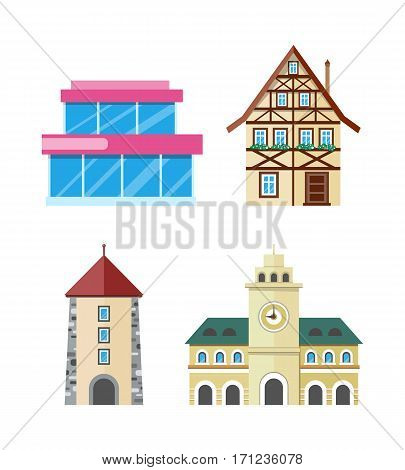 Historic and modern buildings set. Glass structure, fachwerk house, stone tower with arch, town hall with clock flat vector illustration isolated on white background. Architectural, historical icons
