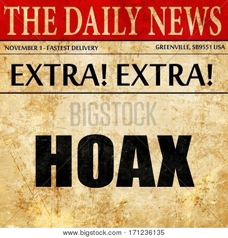hoax, article text in newspaper